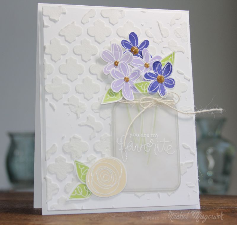 Simon says stamp june 2014 card kit you are my favorite nichol i stamped the greeting from the favorite flowers stamp set on the jar using versamark and heat embossed the design with white embossing powder m4hsunfo