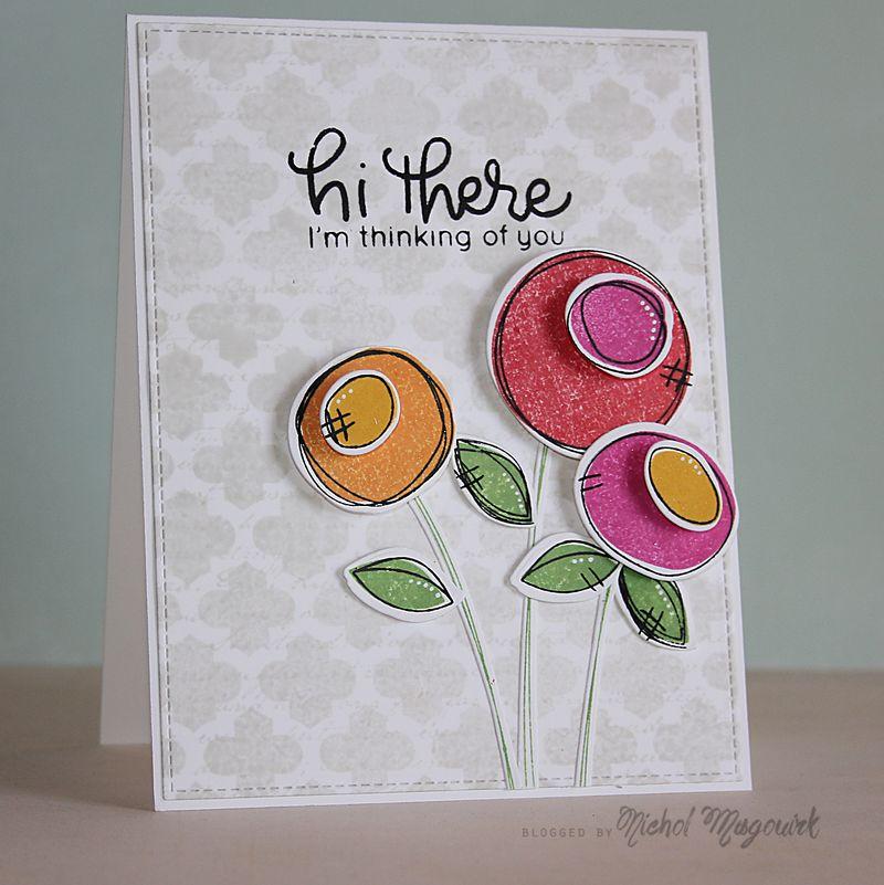Hi There W Scribble Flowers Card Video Nichol Spohr Llc