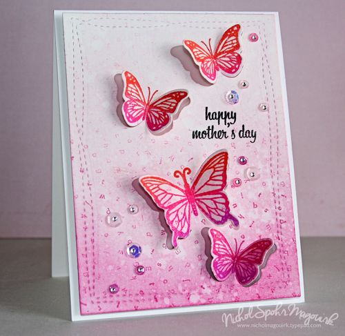 Hero arts 2016 catalog blog hop butterfly stamp cut giveaway to create the background for my card i die cut watercolor cardstock using the avery elle wonky stitches background die and then applied picked raspberry m4hsunfo