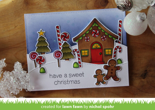 i stamped and colored all the components from the sweet christmas stamp set first i stamped the peppermints and windows directly on the gingerbread house